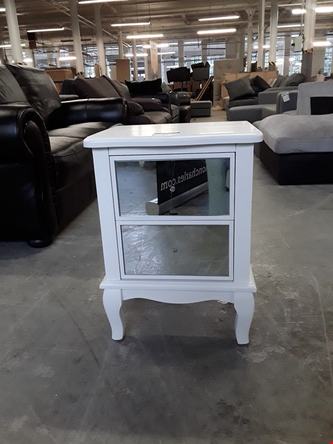 Lot 80 DESIGNER WHITE/MIRRORED TWO DRAWER BEDSIDE TABLE