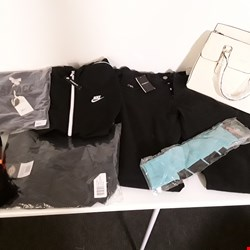 Lot 201 CAGE OF APPROXIMATELY 357 ASSORTED CLOTHING ITEMS TO INCLUDE: EMPORIO ARMANI JEANS, NIKE TRACKSUIT TOP, FATFACE TSHIRT, ADIDAS VEST, ZARA DENIM SHORTS, LYLE AND SCOTT COAT ETC