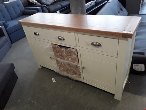 Lot 336 DESIGNER PAINTED WOOD AND OAK EFFECT 3 DRAWER 2 DOOR SIDEBOARD WITH WICKER STORAGE