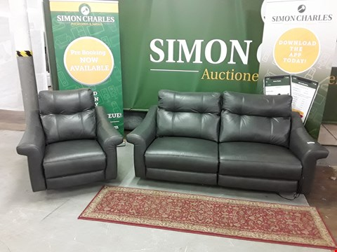 Lot 8019 QUALITY DESIGNER BRITISH MADE WOODEN FRAME DARK GREY LEATHER ELECTRIC RECLINING 3 SEATER SOFA WITH MATCHING ARMCHAIR