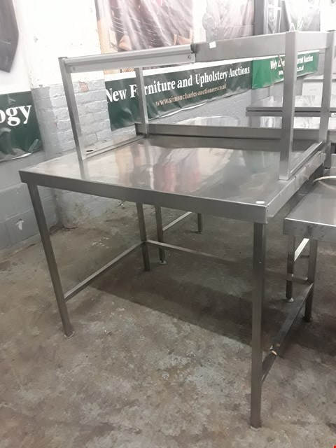 Lot 54 COMMERCIAL WORK BENCH WITH BENCH MOUNTED SHELF AND VOID BELOW