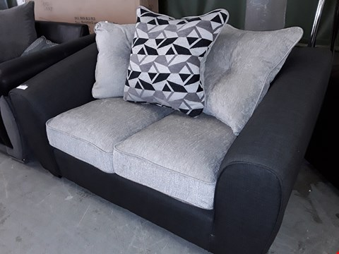 Lot 7 DESIGNER CHARCOAL & GREY FABRIC TWO SEATER SOFA WITH SCATTER CUSHIONS