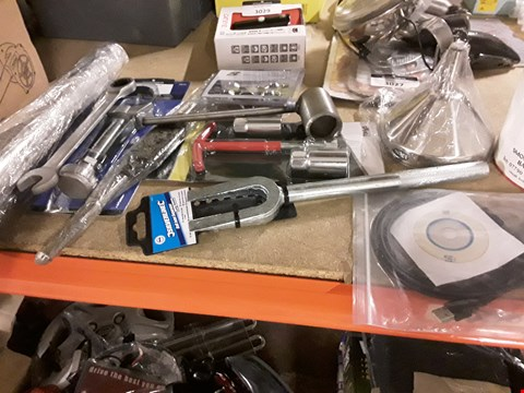 Lot 3028 APPROXIMATELY 11 ASSORTED TOOLS, INCLUDING, BALL JOINT SPLITTER, 13cm FUNNEL, SMOOTHRIDE WIRE WHEEL BALANCING VONES, VAG DATA CABLE, SPARK PLUG SPANNER, OIL FILTER WRENCH,