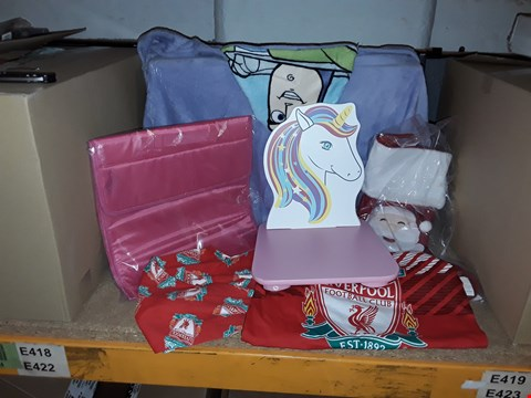 Lot 4026 BOX OF ASSORTED CHILDRENS ITEMS INCLUDING FOOTBALL PYJAMAS, UNICORN CHAIR AND TOY STORY TOWEL