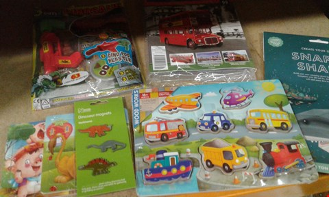 Lot 9629 7 ASSORTED ITEMS TO INCLUDE REATE YOUR ON SNAPPY SHARK, NATIONAL HISTORY MUSEUM DINOSAUR MAGNETS AND WOOD WORKS VEHICLES CHUNKY PUZZLE ETC