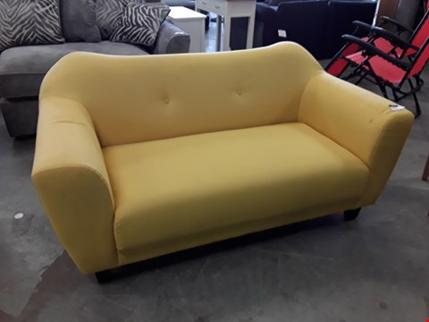 Lot 93 DESIGNER YELLOW FABRIC BUTTON BACK RETRO STYLE 2 SEATER SOFA