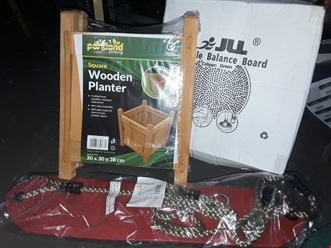 Lot 2606 BOX OF ASSORTED ITEMS TO INCLUDE  SWING, FITNESS BALL, WOODEN PLANTER