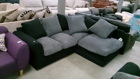 Lot 1227 DESIGNER BLACK FABRIC AND GREY CORDED FABRIC CORNER SOFA WITH SCATTER CUSHIONS