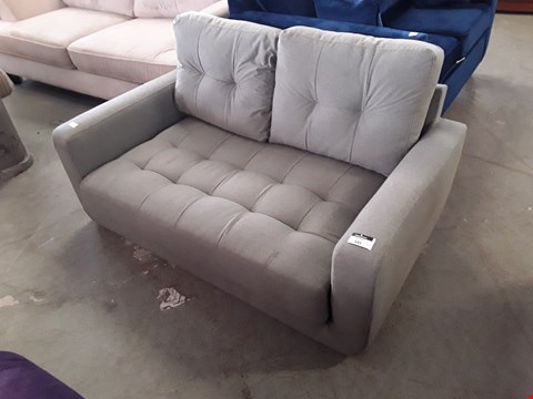 Lot 345 DESIGNER GREY FABRIC COMPACT 2 SEATER BUTTON BACK SOFA