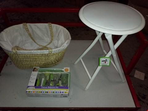 Lot 14020 LOT OF 3 ASSORTED ITEMS TO INCLUDE METAL WHITE STOOL, WOVEN BASKET AMDCDELUXE BABY CARE KIT