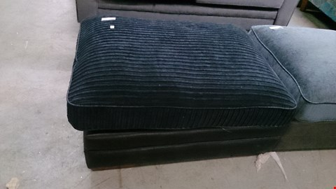Lot 1217 DESIGNER BLACK SUEDE AND CORDED FABRIC FOOTSTOOL