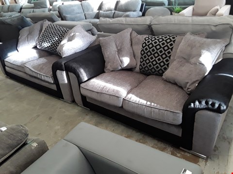 Lot 87 DESIGNER BLACK/GREY FABRIC THREE & TWO SEATER SOFAS WITH SCATTER CUSHIONS