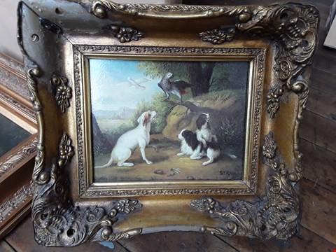 Lot 11015 BIRDS & DOGS - PAINTING IN A DECORATIVE GOLD PAINTED FRAME (APPROX 40 X 45CM)