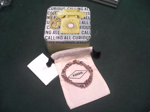 Lot 1556 BOXED FOSSIL NUDE LEATHER WRIST STRAP WITH ROSE GOLD AND DIAMANTE BEADS RRP £47