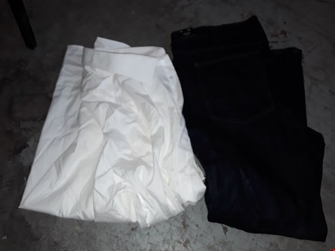 Lot 348 BOX OF APPROXIMATELY 17 ASSORTED CLOTHING ITEMS TO INCLUDE DARK DENIM JEANS AND ITALIAN CLASSICS COTTON SHIRT