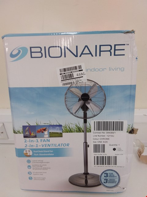 Lot 9039 BOXED BIONAIRE BASF1516 DESK AND STAND FAN RRP £99.99
