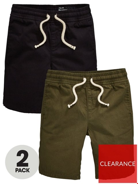 Lot 6073 BRAND NEW BOYS 2 PACK RIPSTOP PULL ON SHORTS - BLACK/KHAKI AGE 18-24  MONTHS
