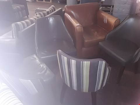 Lot 69 APPROXIMATELY 5 ASSORTED CHAIRS INCLUDING TAN ARMCHAIR AND GREY LEATHER CHAIR WITH STRIPED BACK