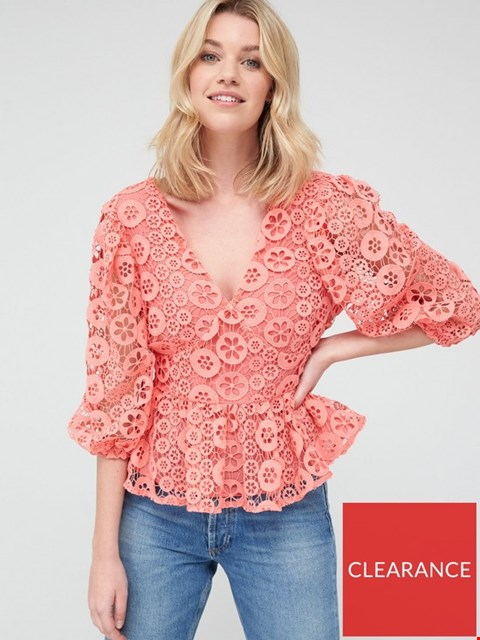 Lot 3659 BRAND NEW V BY VERY PEPLUM BUTTON THROUGH LACE BLOUSE - CORAL SIZE 12