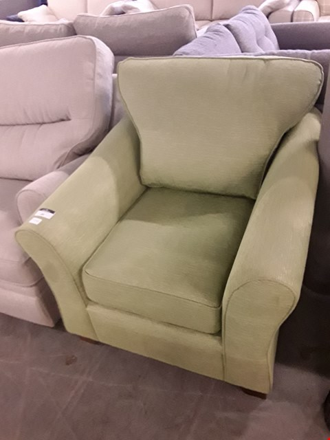Lot 39 QUALITY BRITISH DESIGNER LIME GREEN WEAVE FABRIC ABBEY ARMCHAIR