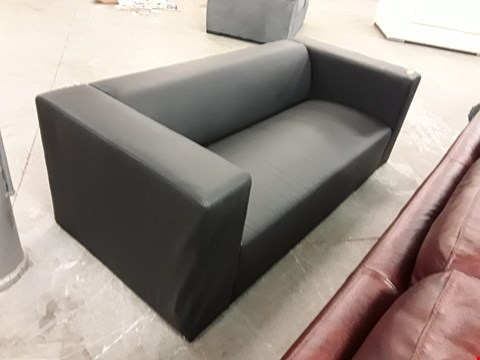 Lot 84 DESIGNER BLACK FAUX LEATHER MINIMALIST 2 SEATER SOFA