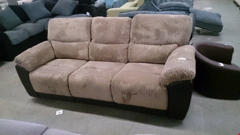 Lot 1210 DESIGNER SIENNA BROWN LEATHER AND BEIGE CORDED FABRIC RECLINING 3 SEATER SOFA