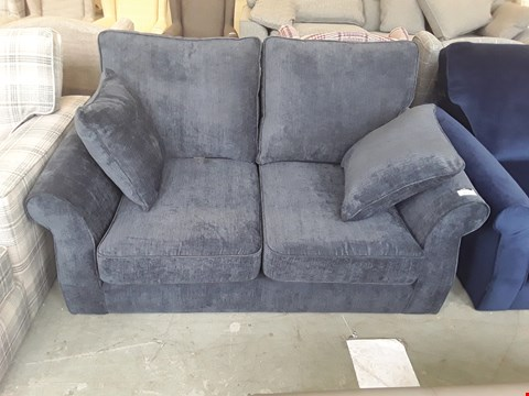 Lot 37 QUALITY BRITISH DESIGNER NAVY BLUE VELOUR EFFECT ASHFORD 2 SEATER SOFA