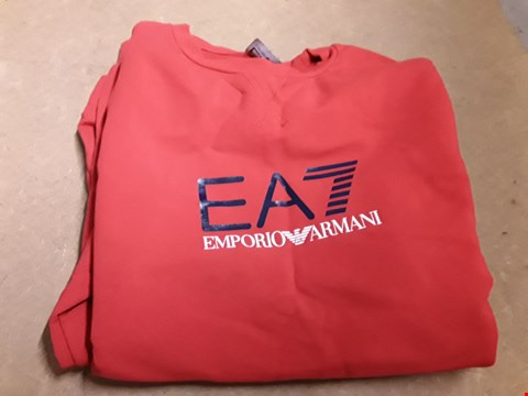Lot 859 EA7 TRAIN LOGO CREW NECK SWEATER RED M  RRP £105