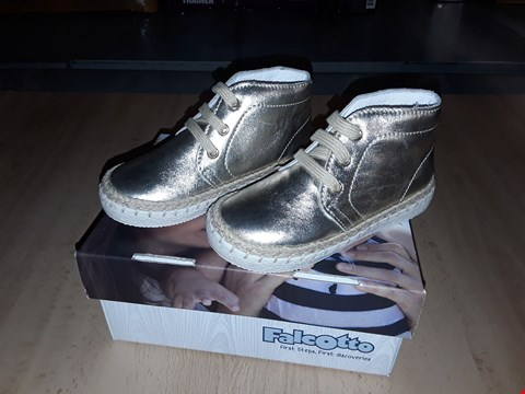 Lot 12427 BOXED FALCOTTO 1525 GOLDEN LACE UP SHOES UK SIZE 6 JUNIOR