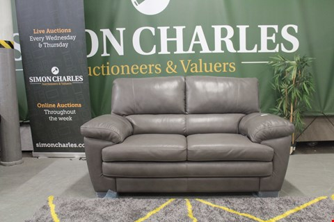 Lot 10014 DESIGNER GREY ITALIAN LEATHER 2 SEATER SOFA WITH CONTRAST DETAIL STITCHING