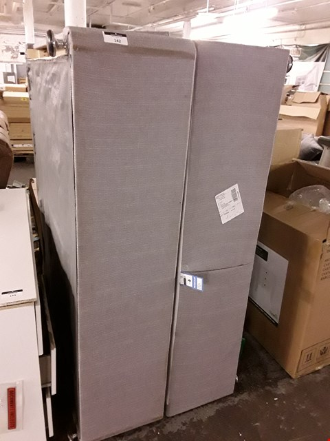 Lot 142 GREY FABRIC DRAWERED DIVAN BASE - MEASURES APPROXIMATELY 150X200