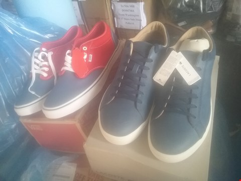 Lot 7055 BAG OF APPROXIMATELY 10 ASSORTED ITEMS OF FOOTWEAR TO INCLUDE LACOSTE NAVY STRAIGHT SET TRAINERS AND VANS CHAPMAN GREY STRIPE TRAINERS