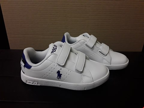 Lot 9060 RALPH LAUREN POLO STYLE WHITE/BLUE JUNIOR TRAINERS S12