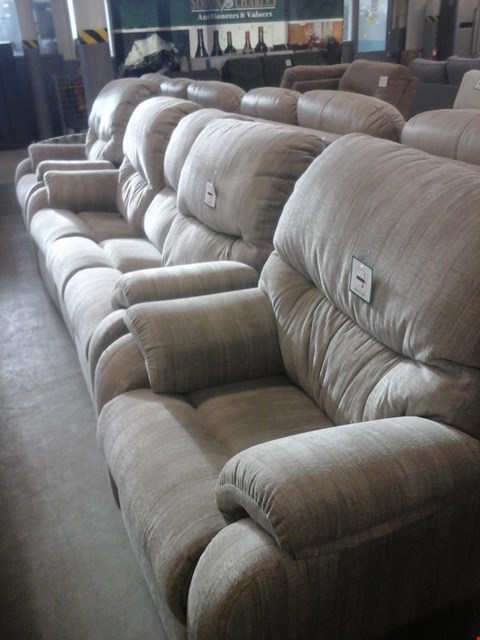 Lot 12 QUALITY BRITISH MADE HARDWOOD FRAMED PEBBLE FABRIC 3 SEATER ELECTRIC RECLINER SOFA , PEBBLE FABRIC MANUAL RECLINER CHAIR AND PEBBLE FABRIC CHAIR