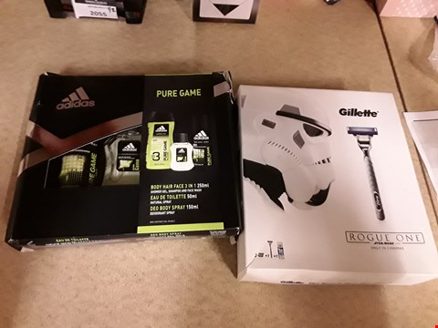 Lot 2173 LOT OF 2 ITEMS TO INCLUDE ADIDAS PURE GAME GIFT SET AND GILLETTE STAR WARS ROGUE ONE SHAVING SET