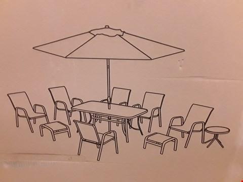Lot 7314 BOX OF VERSAILLES BROWN 11 PIECE OUTDOOR DINING SET PARTS (BOX 1OF3 ONLY)