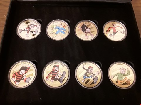 Lot 9150 BOXED SET OF 8 GOLD PLATED BEANO CHARACTER COLLECTABLE COINS