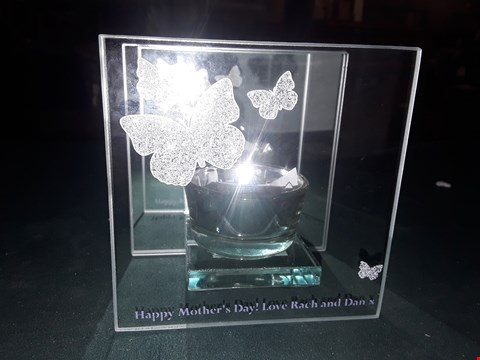 Lot 78 BOXED PERSONALISED BUTTERFLY TEALIGHT HOLDER  RRP £16.99