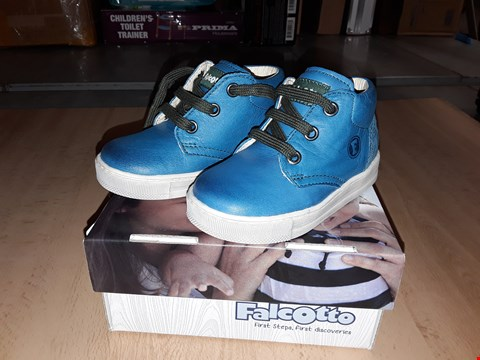 Lot 12437 BOXED FALCOTTO BIRD NAPPA LEATHER BLUE LACE UP SHOES UK SIZE 4.5