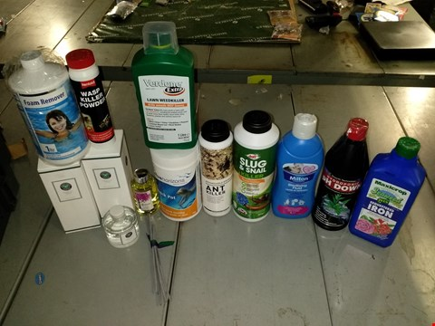 Lot 1140 LOT OF 12 HOME ITEMS TO INCLUDE FRESH CUT GRASS REED DIFFUSER, MILTON STERILISING FLUID AND VERDONE EXTRA LAWN WEED KILLER