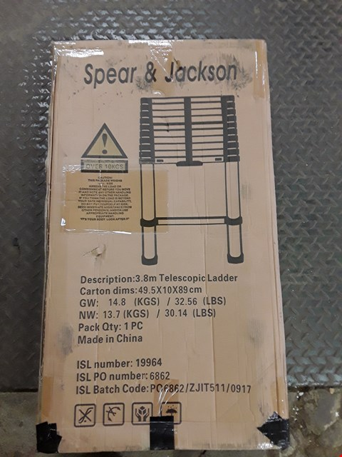 Lot 4002 BOXED SPEAR & JACKSON 3.8M TELESCOPIC LADDER