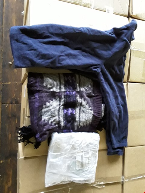 Lot 2514 4 BOXES CONTAINING APPROXIMATELY 250 ASSORTED CLOTHING ITEMS TO INCLUDE BOOTCUT JEANS LONG, FLEECE JACKET AND AZTEC TASSEL WAISTCOAT