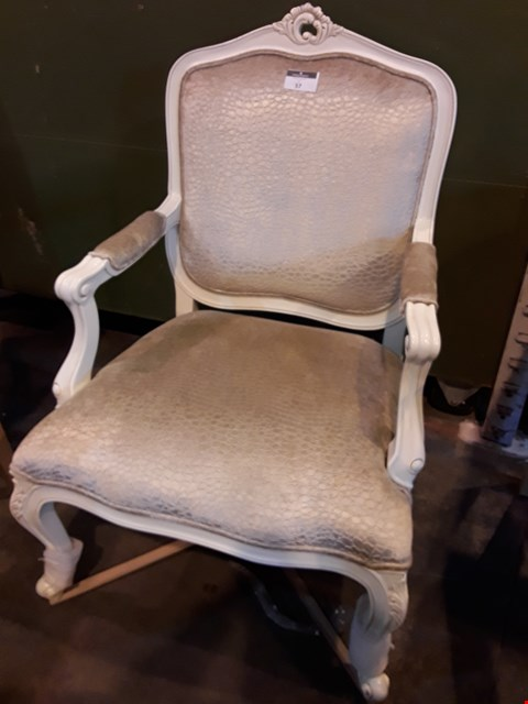 Lot 57 DESIGNER PERIOD STYLE CARVED PAINTED ARM CHAIR  RRP £745.00