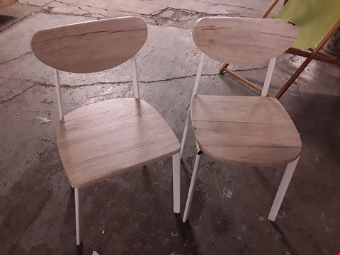 Lot 7019 DESIGNER PAIR OF WOOD-EFFECT CHAIRS WITH WHITE FRAMES