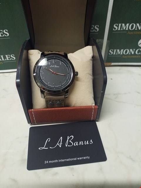 Lot 4591 L. A BANUS BLACK STAINLESS STEEL WATCH WITH GREY SUEDE WRIST STRAP