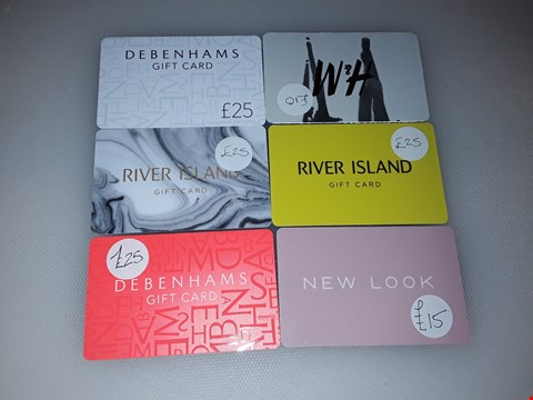 Lot 18 11 ASSORTED GIFT CARDS, INCLUDING NEW LOOK, H&M, RIVER ISLAND, DEBENHAMS AND INTU.   TOTAL VALUE £195