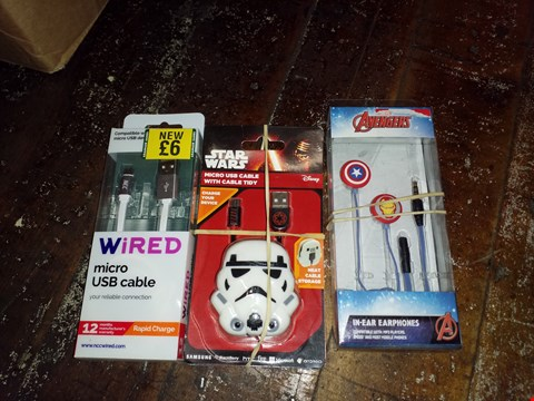 Lot 337 BOX OF ASSORTED BRAND NEW ELECTRONIC ACCESSORY ITEMS TO INCLUDE A STAR WARS MICRO USB CABLE WITH CABLE TIDY, A WIRED MICRO USB CABLE, MARVEL AVENGERS IN-EAR EARPHONES ETC