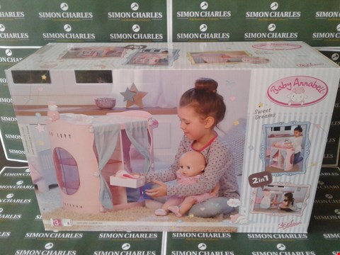 Lot 11128 BRAND NEW BOXED ZAPF CREATIONS BABY ANNABELLE SWEET DREAMS 2 IN 1 PLAYSET RRP £70.00