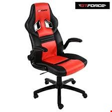 Lot 47 BOXED GT FORCE LEATHER RACING SPORTS OFFICE CHAIR IN BLACK AND RED