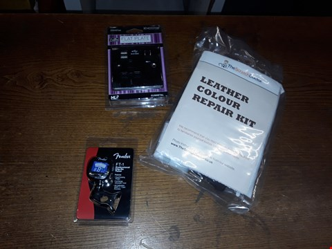 Lot 14 BOX OF ASSORTED ITEMS TO INCLUDE LEATHER COLOUR RE0AI KIT, 13A 1G SWITCHED SOCKET WITH DUAL USB CHARGER AND FT-1 PROFESSIONALCLIP ON TUNER ECT (BOX NOT INCLUDED)